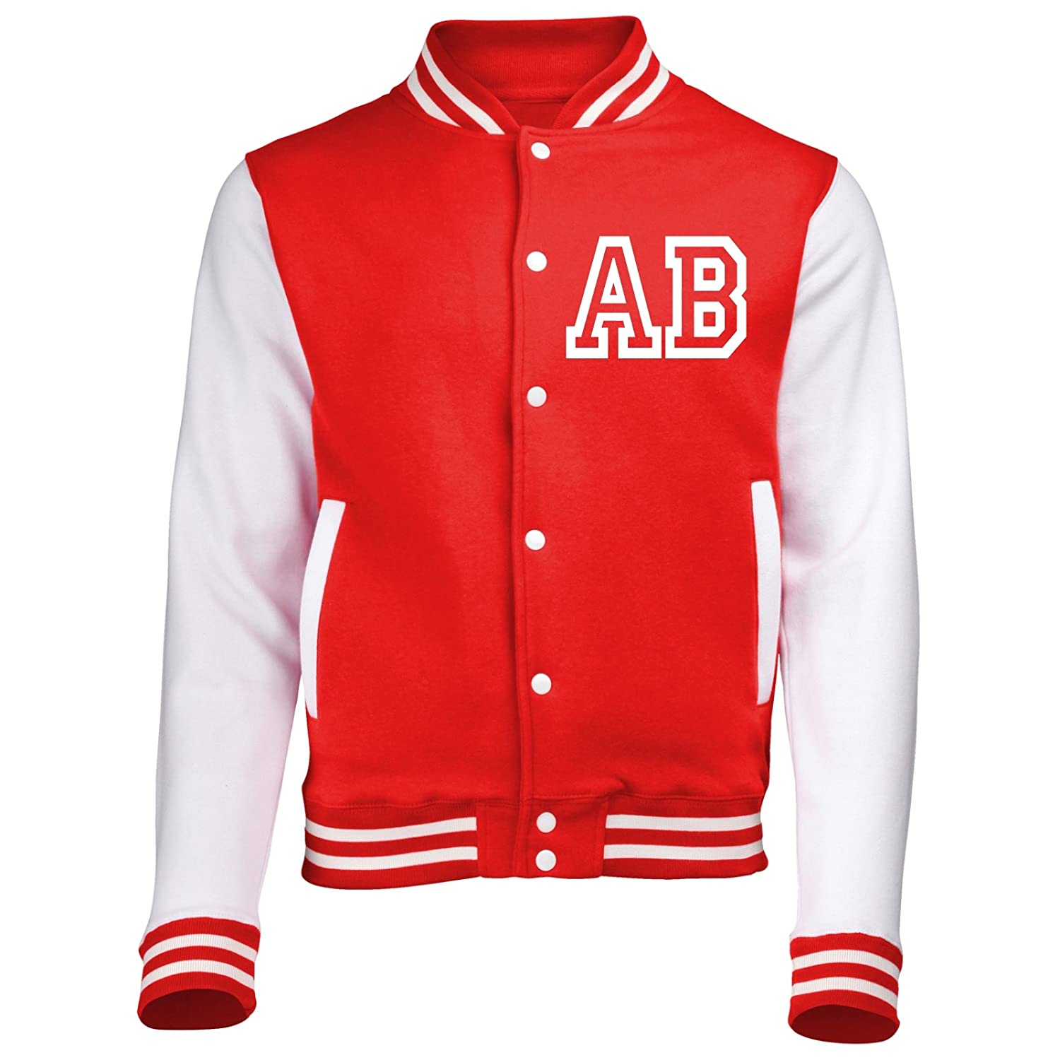 KIDS VARSITY JACKET WITH FRONT INITIAL PERSONALISATION (Fire Red / White) By 123t Fonfella
