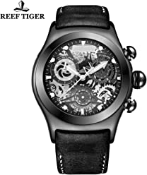 Reef Tiger Chronograph Sport Watch with Date Black Steel Skeleton Dial Luminous Watches RGA792