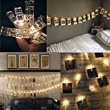 LED Photo Clips String Lights with 20 Clips, Battery Operated Fairy Twinkle Lights for Wedding Party Christmas Home Decor, Hanging Photos, Cards, Painting Pictures(7.2 Feet, Warm White)| By R'UOX (Standard)