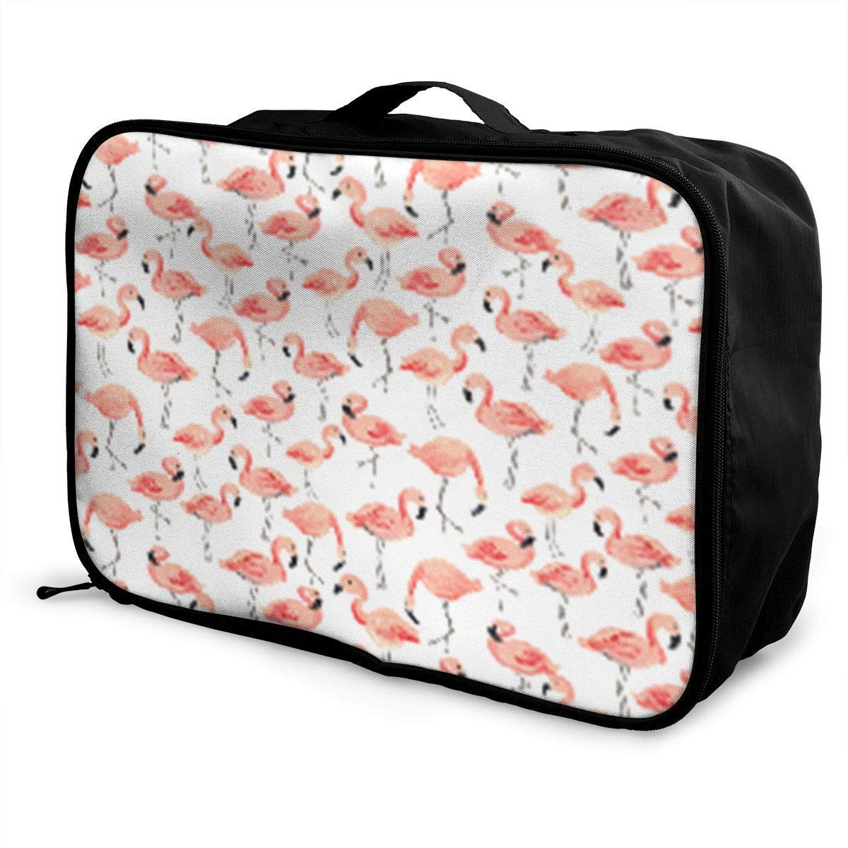 Portable Luggage Duffel Bag Cartoon Flamingo Party Travel Bags Carry-on in Trolley Handle JTRVW Luggage Bags for Travel