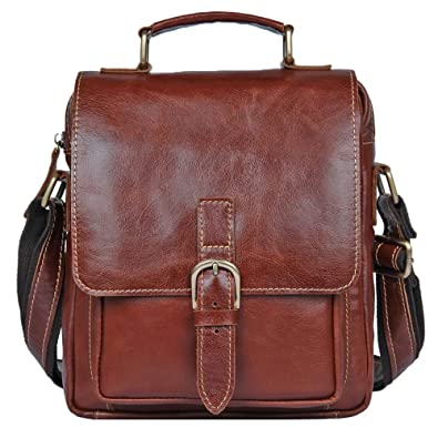 07dda8f499 Genda 2Archer Mens Leather Small Messenger Crossbody Bag Shoulder Sling  Pack (Red Brown)