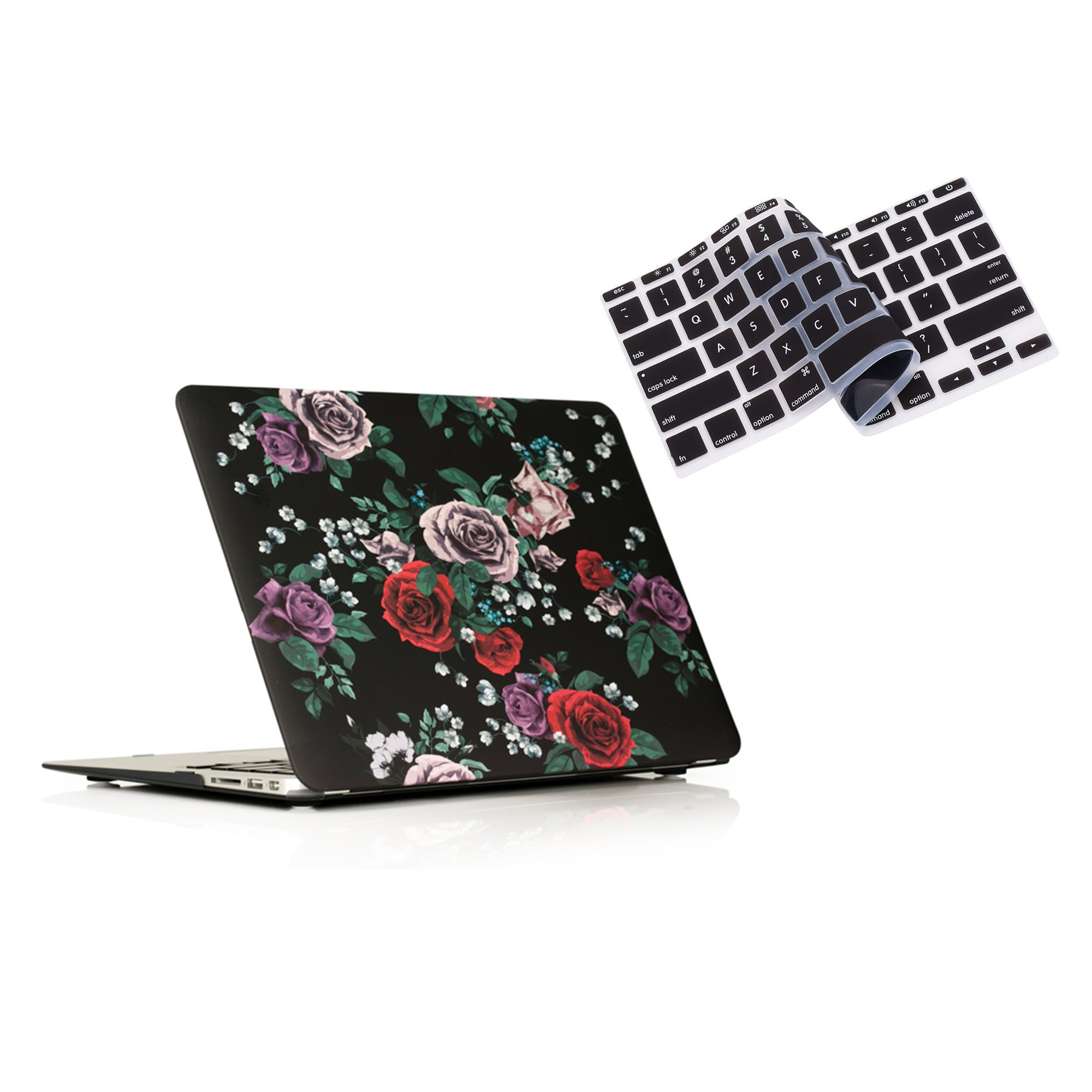 RUBAN Plastic Hard Case and Keyboard Cover for MacBook Air 13 inch (Models: A1369 / A1466) - Rose Flower