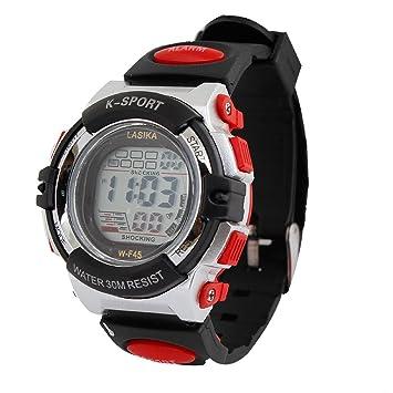 Hombres Negro multifuncional plástico rojo evento Calendario de alarma reloj deportivo