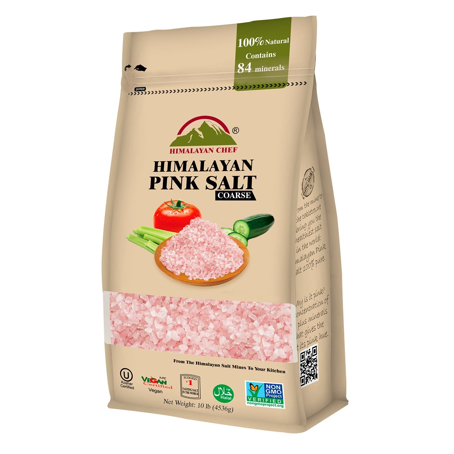 Himalayan Chef 100% Natural Himalayan Pink salt, 10 lbs Coarse Grains, Incredible Taste,Rich in Nutrients and Minerals to improve your Health