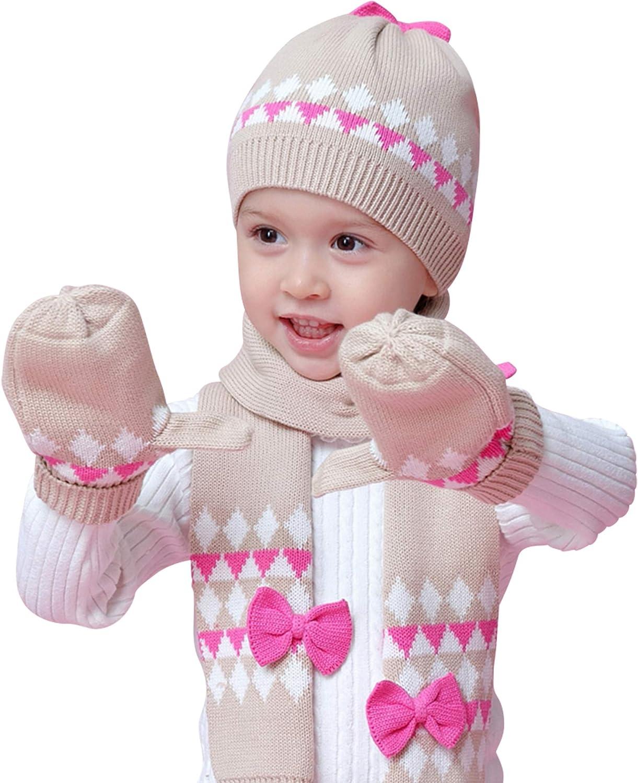 ANIMQUE Baby M/ädchen Strickm/ütze Schal Handschuhe 3stk Set Winter Kinder 1-8 Jahre Doppelschicht H/äkeln Pom Pom Baumwolle Beanie M/ütze Halstuch F/äustlinge Fliege Dekor