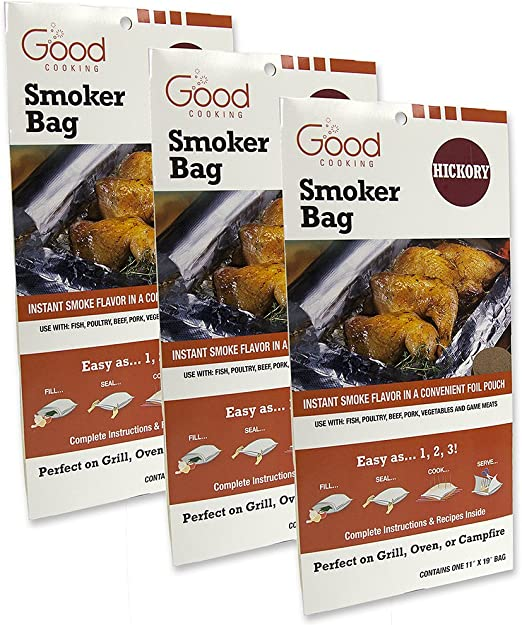 Set of 3 Hickory Smoking Bags for Indoor or Outdoor Use Smoker Bags Easily Infuse Natural Wood Flavor