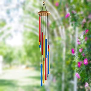FONMY Wind Chimes Outdoor Memorial Windchimes for Loved One Great Wind Chime Gifts 38inches Rainbow Color Wind Mobile Garden Home Yard Hanging Decor