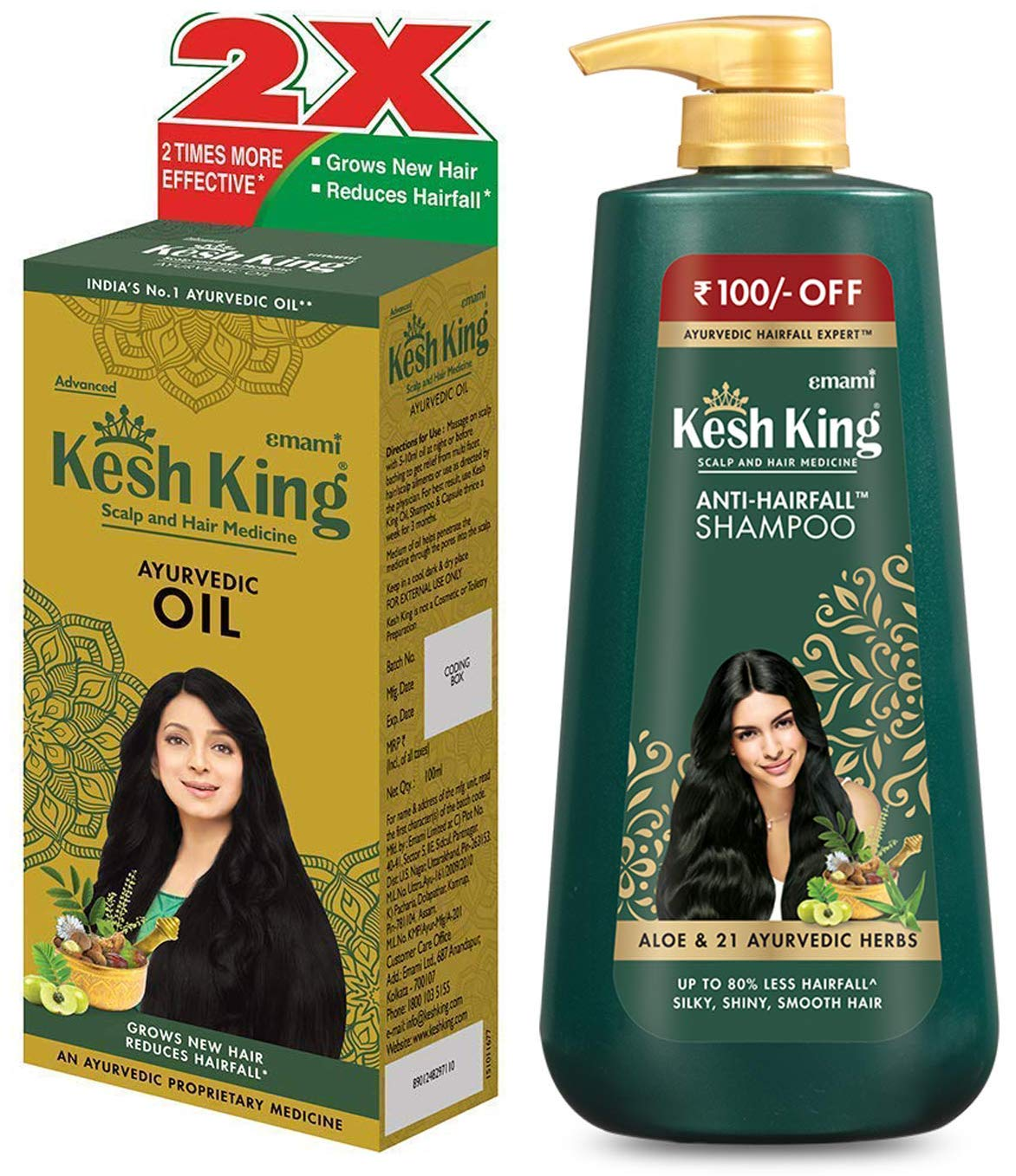 Kesh King Ayurvedic Anti Hairfall Hair Oil, 300ml & Kesh King Scalp and Hair Medicine Anti-Hairfall Shampoo, 600 ml
