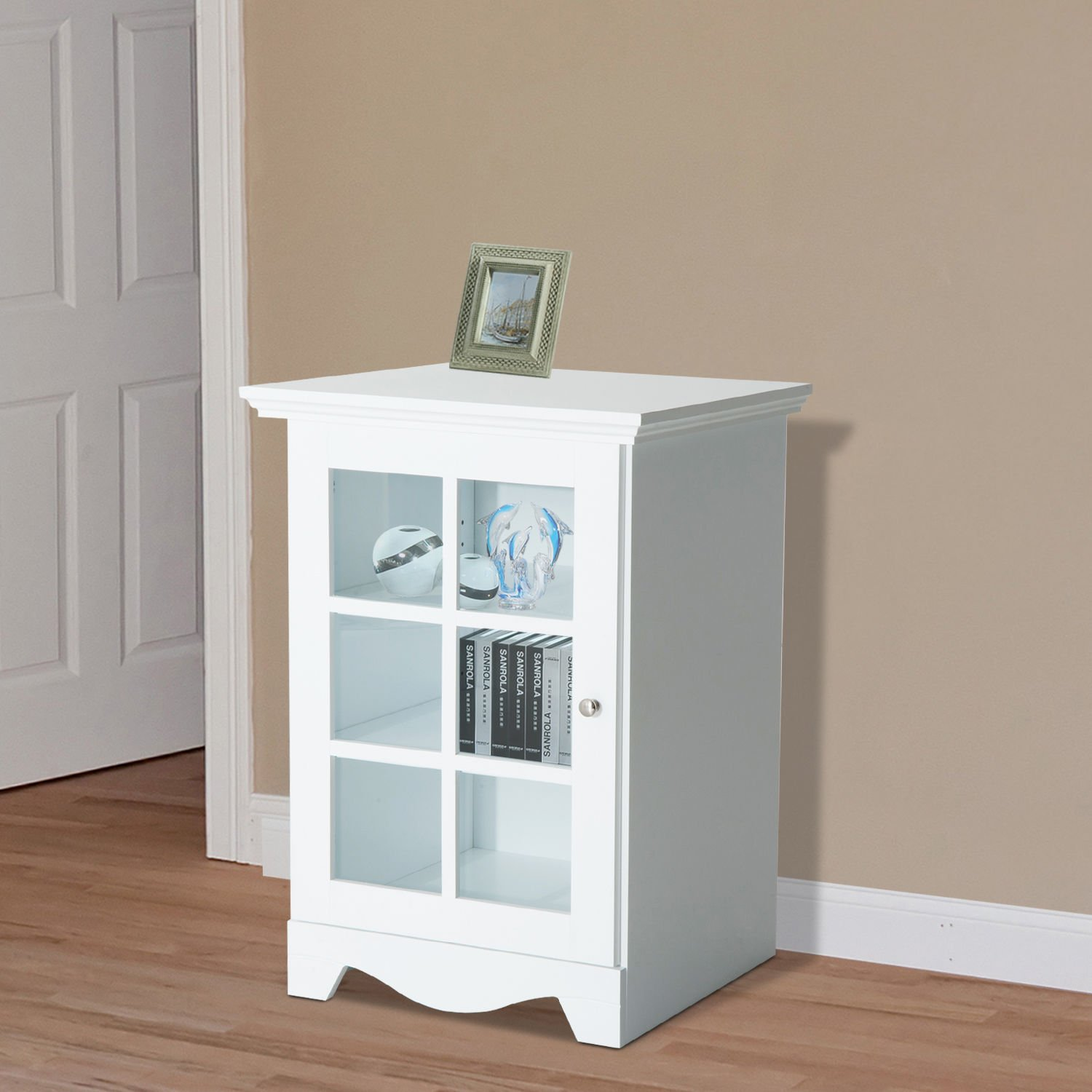 New White Wood Cabinet Storage Hutch Kitchen Bathroom Bedroom Single Glassed Door Shelves by totoshop (Image #3)