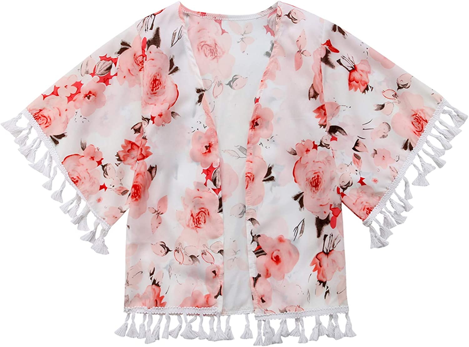 Baby Girl Floral Print Jacket Tassel Chiffon Kimono Cardigan Cover up Blouse Summer Coat Clothes