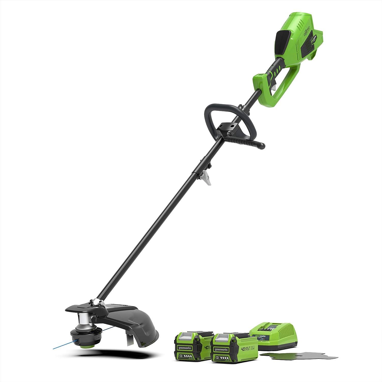 Greenworks Tools GD40BCK2X Cortacésped inalámbrico y sensorial 2en1 (Li-Ion 40V 40cm/25cm ancho corte 2mm hilo/cuchilla 5300 rpm mango ajustable motor sin escobillas con 2 baterías 2Ah y cargador)