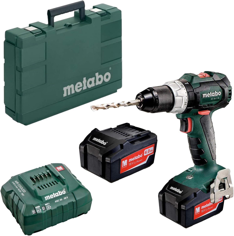 Metabo 602325500 602325500-Taladro Atornillador sin escobillas a bateria 18V / 2X 4,0 Ah Li-Ion BS 18 LT BL con maletín, Color:, Size