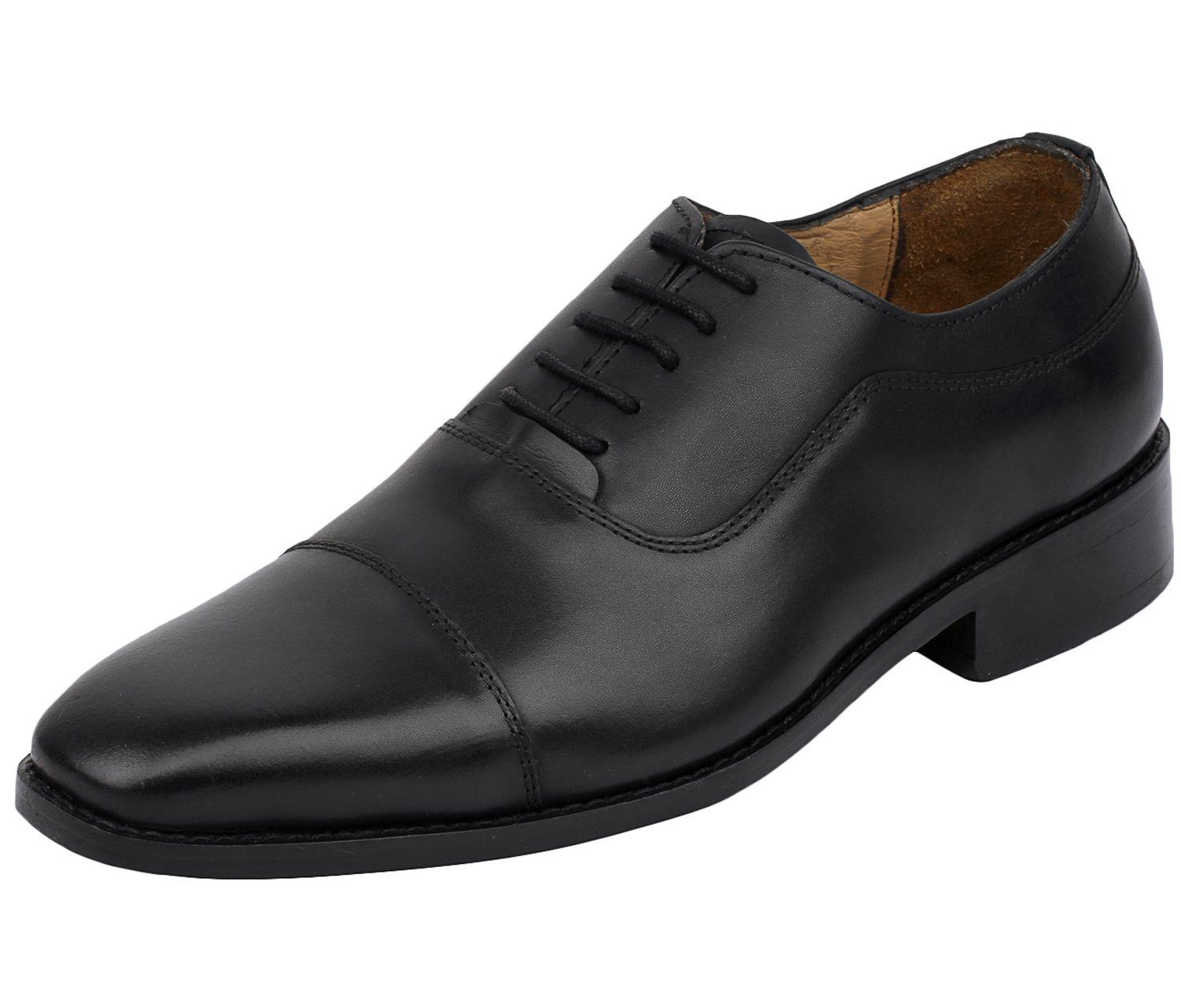 Lethato Handcrafted Men's Captoe Genuine Leather Lace Up Oxford Dress Shoes- Black