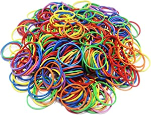 "500 Pcs 2.5cm 1"" Small Assorted Mixed Rainbow Colorful Rubber Bands Bulk Elastic Wide Money Rubber Bands Stationery Holder Thermostability Strong Elastic Band Loop Office Supplies (Multi Colored)"