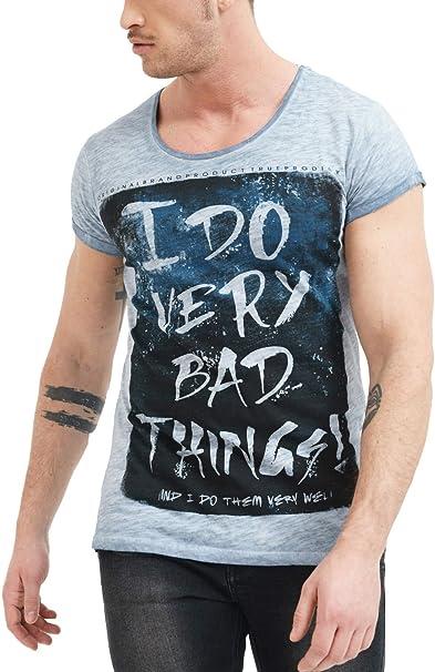TALLA XL. trueprodigy Casual Marca Camiseta para Hombre con impresión Estampada Ropa Retro Vintage Rock Vestir Moda Cuello Redondo Manga Corta Slim fit Designer Fashion t-Shirt