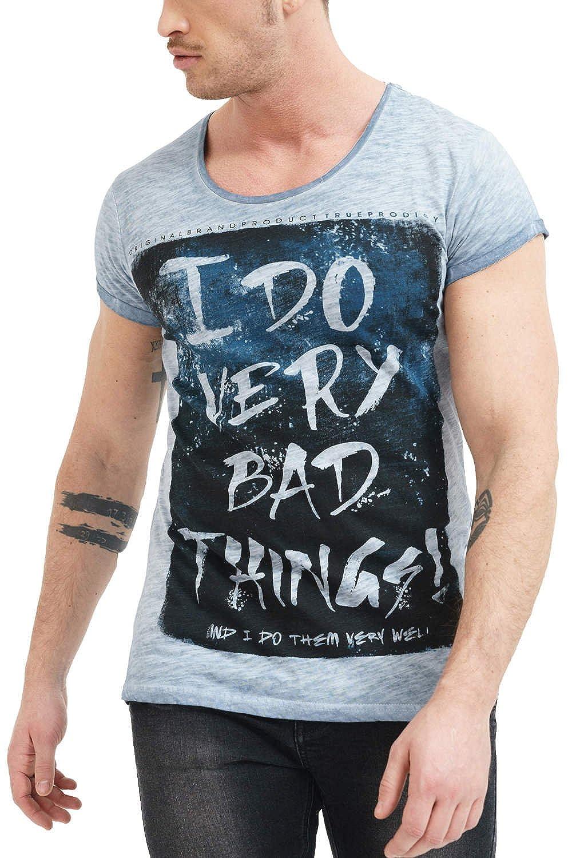 trueprodigy Casual Marca Camiseta para Hombre con impresión Estampada Ropa Retro Vintage Rock Vestir Moda Cuello Redondo Manga Corta Slim fit Designer Fashion t-Shirt