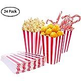 TankerStreet 24 Stück Popcorn-Boxen Rot und Weiß Gestreift Papier Taschen Tüte Candy Container für Party, Kinder, Geschenke, Geburtstage, Kino, Theater