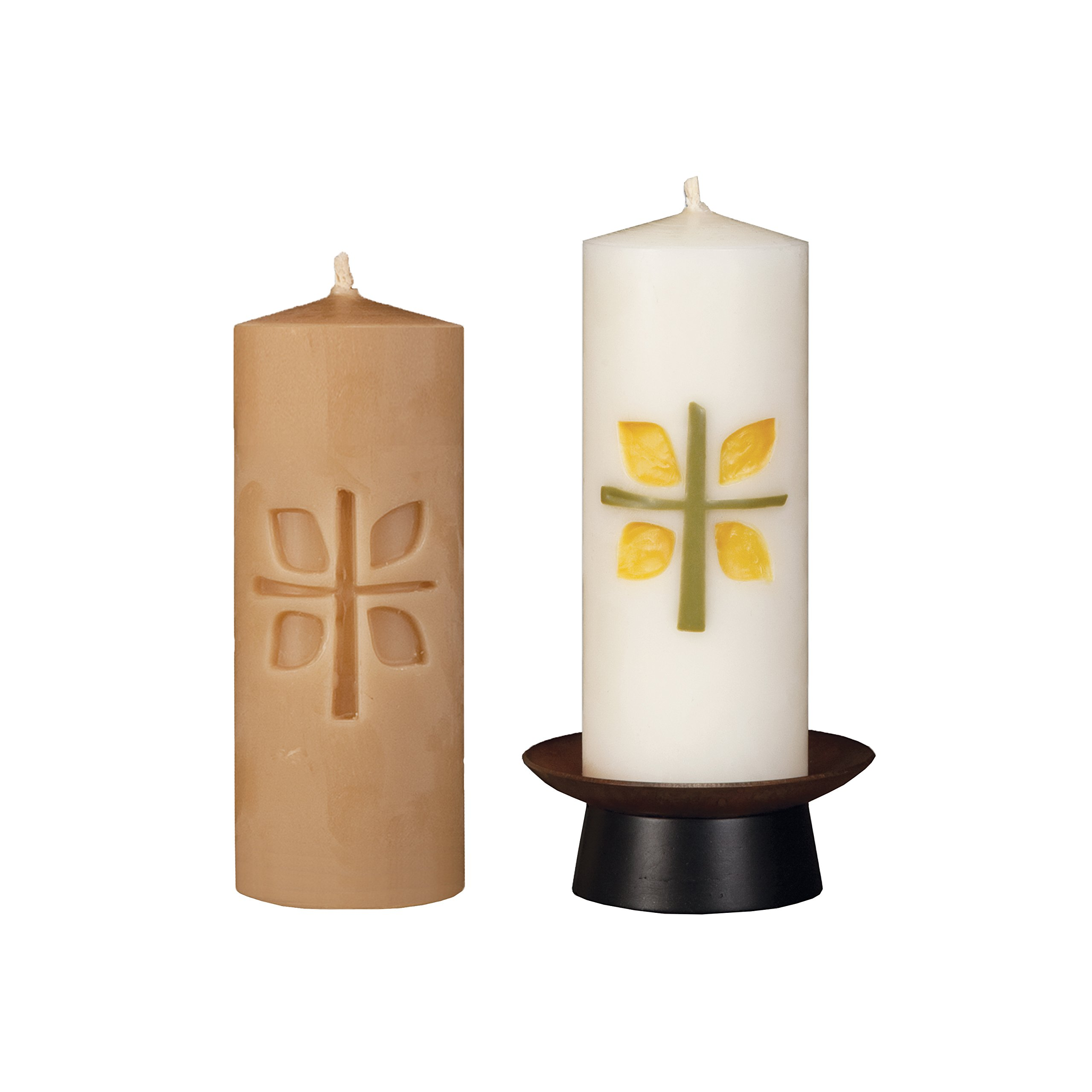 Beeswax Christos™ Candle Set; 2-1/2'' x 6'' candles with base; Dewfall™ design in olive green and yellow. Handcrafted in New England. Made in America. by Marklin Candle