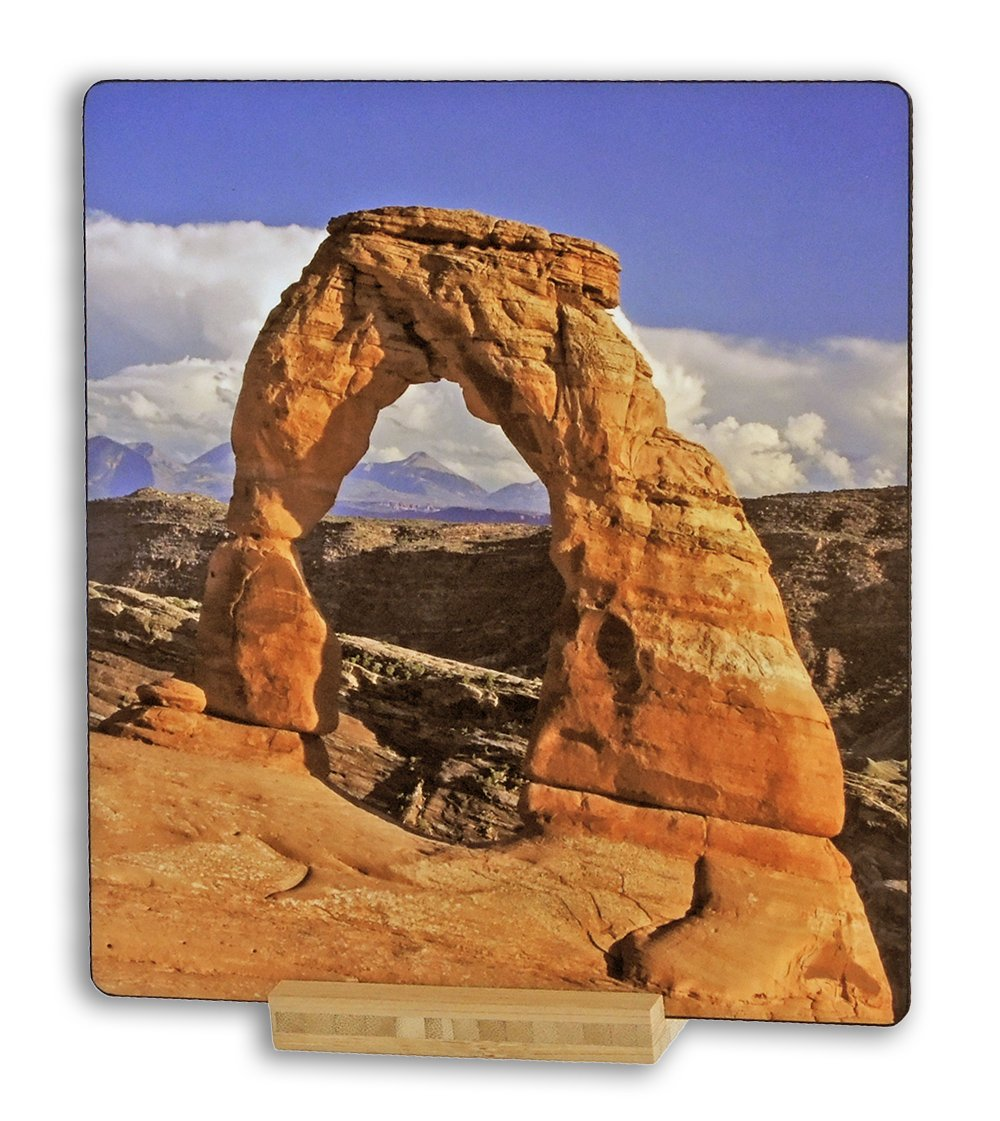 Delicate Arch, Arches National Park, Utah, USA - Original Photography Aluminum Metal Art Print Gift with Bamboo Stand for Office Decor, Desk Accessories, or Home Decor Table Art Display