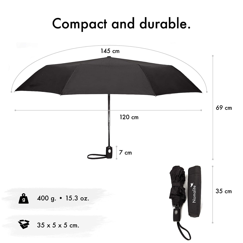 r/ésistant au Vent//temp/ête Parapluie de Poche incassable par Nomalite Id/éal en Voyage. Parapluie Noir Pliant Homme//Femme Compact /à Ouverture Automatique en Fibre de Verre et T/éflon 210t