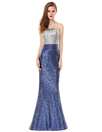 Ever Pretty Juniors Strapless Fitted Sequins Long Formal Prom Gown 4 US Sapphire Blue