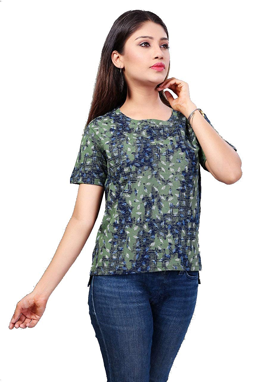 242002eaf Daksh Fashions Half Sleeve Cotton Lycra Mate Green Printed Women's Top ( Medium Size): Amazon.in: Clothing & Accessories
