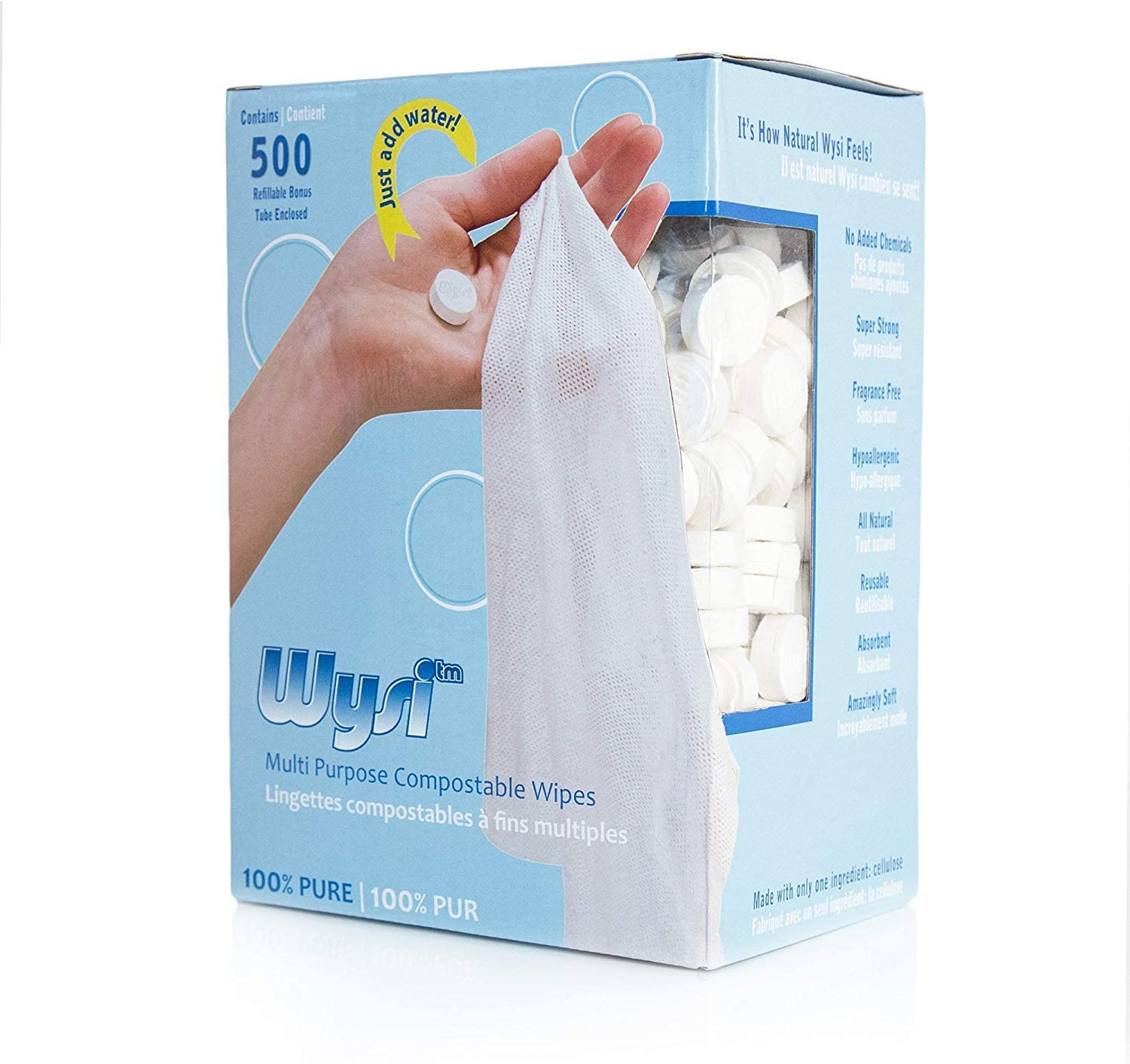 Strong and Just Wysi Wipe Soft All Natural Multi-Purpose Biodegradable Wipes