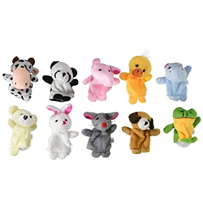 Soft Plush Animal Finger Puppet Set (10 Piece) by Electronix Express: Toys & Games