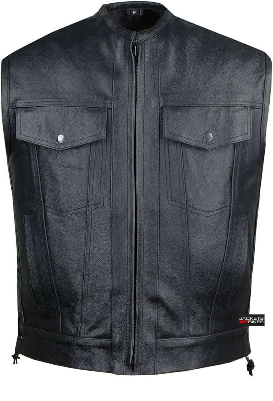 SOA Motorcycle Sons of Anarchy ARMOR Leather Open Collar Club Biker Vest XXL
