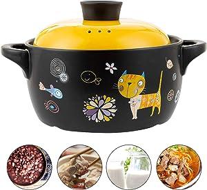 AHUA Ceramic Stockpot, Cartoon Pattern Ceramic Black Dish Round Stewpot, Stovetop Ceramic Stew Pot, Hot Pot Clay Pots, Soup Pot, Stew Pan, Casserole Cooking Pot with Yellow Lid