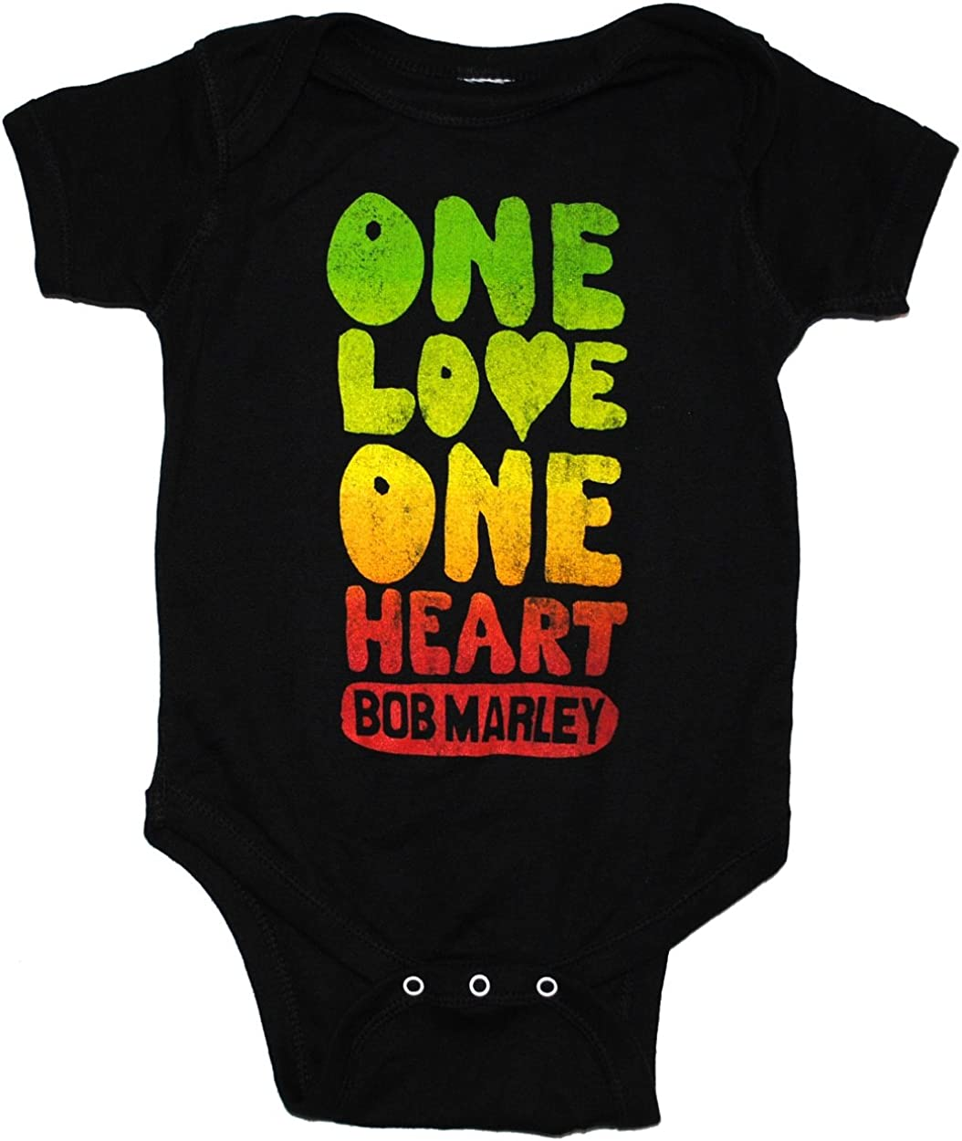 Bob Marley One Love Heart Baby Infant Snapsuit Romper