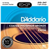 D'Addario EXP38 with NY Steel Phosphor Bronze 12-String Acoustic Guitar Strings, Coated, Light, 10-47