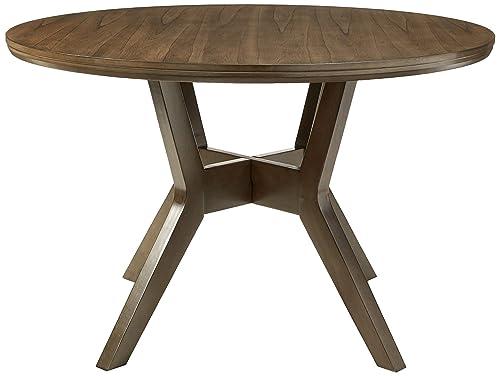 HOMES Inside Out Jenka Gray Jenak Mid-Century Modern Round Dining Table
