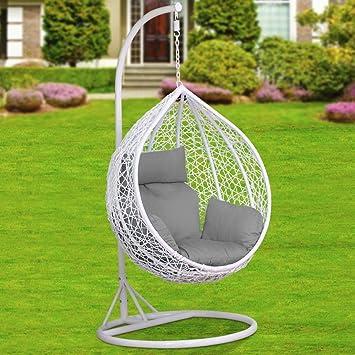 Outdoortips - Columpio de ratán de color blanco para colgar silla ...