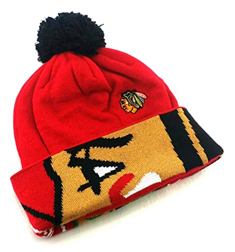 lowest price 02023 66e00 Image Unavailable. Image not available for. Color  Chicago Blackhawks New  Reebok Toque Pom Logo Cuff Red Black Era Beanie ...