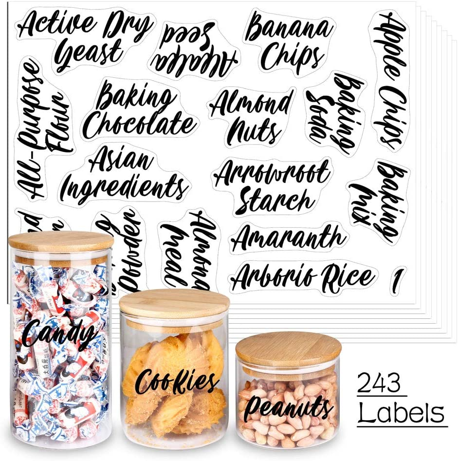 SWOMMOLY 243 Cursive Pantry Labels Set. Water Resistant Food Pantry Label Sticker. Complete Jar Container Decals for Pantry Organization Storage