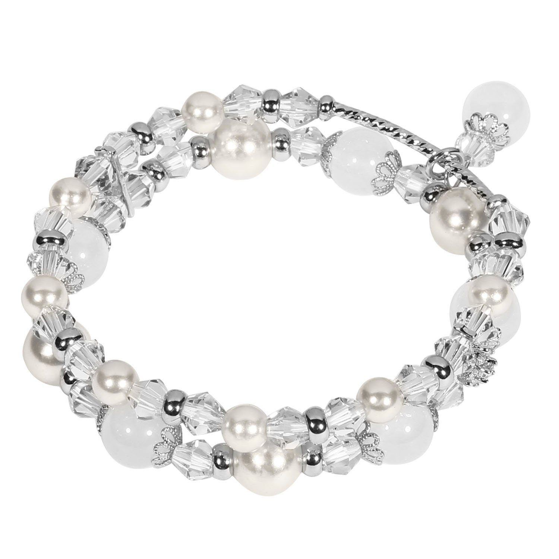 Tomazon Fashion Handmade Faux Pearl Beaded Crystals Stretch Elastic Wrap Around Wrist Bracelet Bangles for Women Girls (3 rows - white)