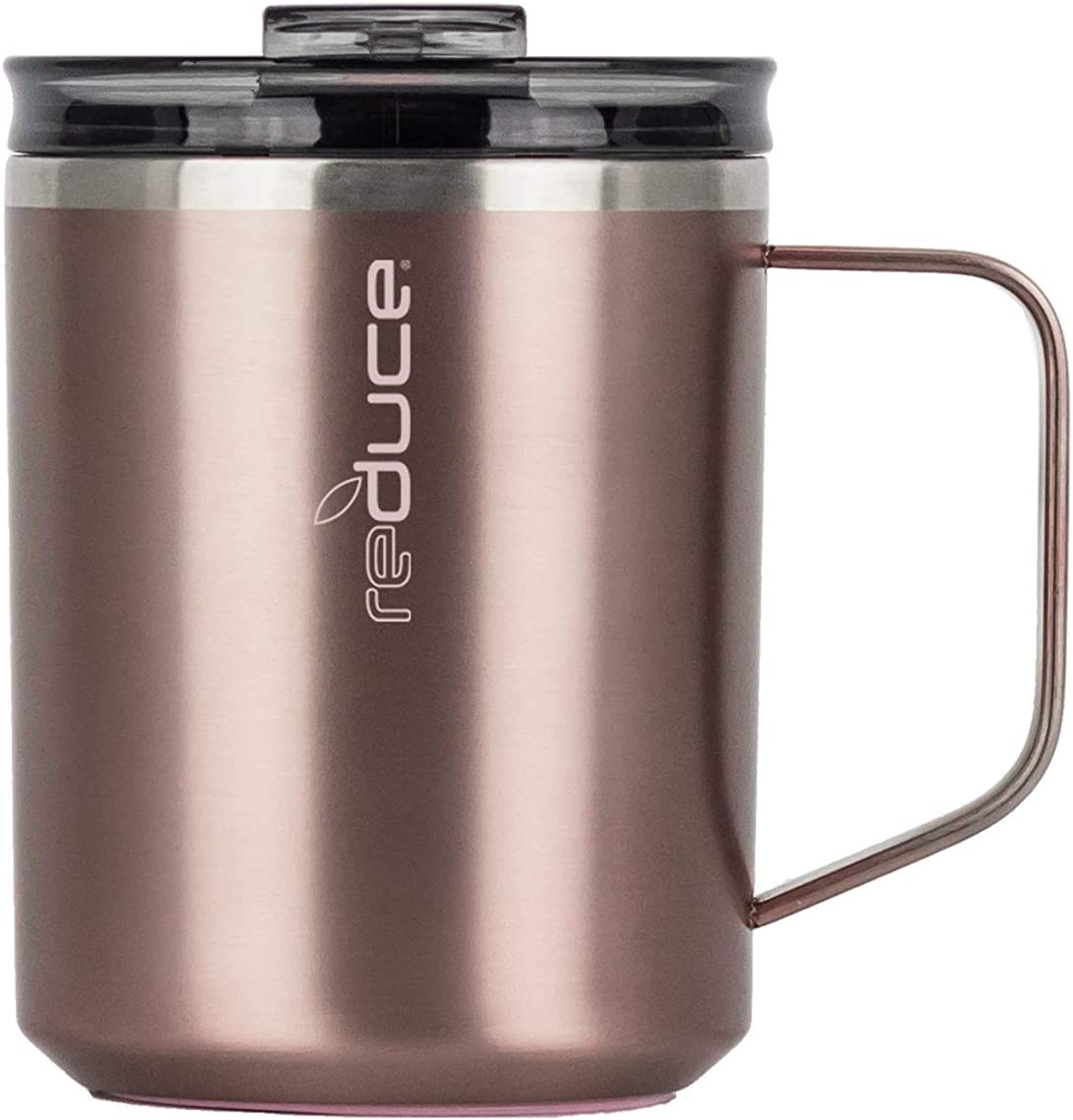 Reduce Hot1 Camping Mug with Lid and Handle, 14 oz – An Ideal Stainless Coffee Mug for the Home and Office – This Travel Coffee Mug with Handle Fits Under Single Serve Machine – Rose Gold