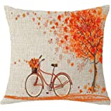 "Happy autumn Fall Big tree Maple Leaf bicycle Throw Pillow Cover Cushion Case Cotton Linen Material Decorative 18 ""x18'' Square (18''x18'', 1)"