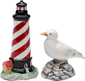 StealStreet SS-CG-10704, 4.13 Inch Painted Lighthouse and Sea Gull Salt and Pepper Shaker Set