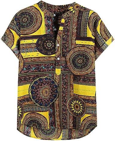 Camisa Hombre Manga Corta Hawaiana Camisa de Estampado ...