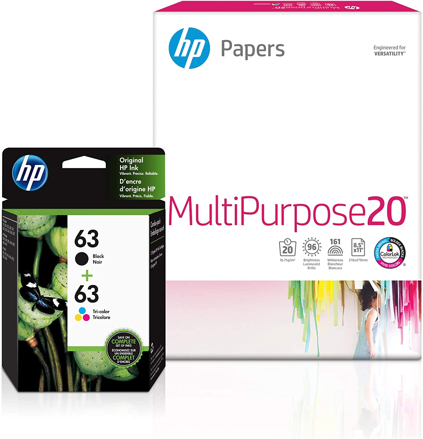 HP 63 | 2 Ink Cartridges with 150 Sheets of 8.5x11 Paper | Black, Tri-Color | F6U61AN, F6U62AN