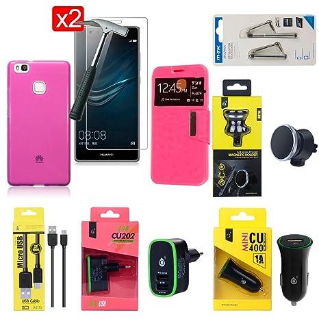 OVIphone® Pack Accesorios Premium Huawei P9 Lite (No Complatible con Huawei P9 y Huawei P9 Plus), Fundas, Cristales Templados, Cargadores, Soporte ...