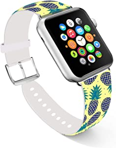 Ecute Compatible with Apple Watch Band 38mm 40mm, Soft Leather Band Strap Compatible with iWatch Series 6/5/4/3/2/1 - Black Pineapple
