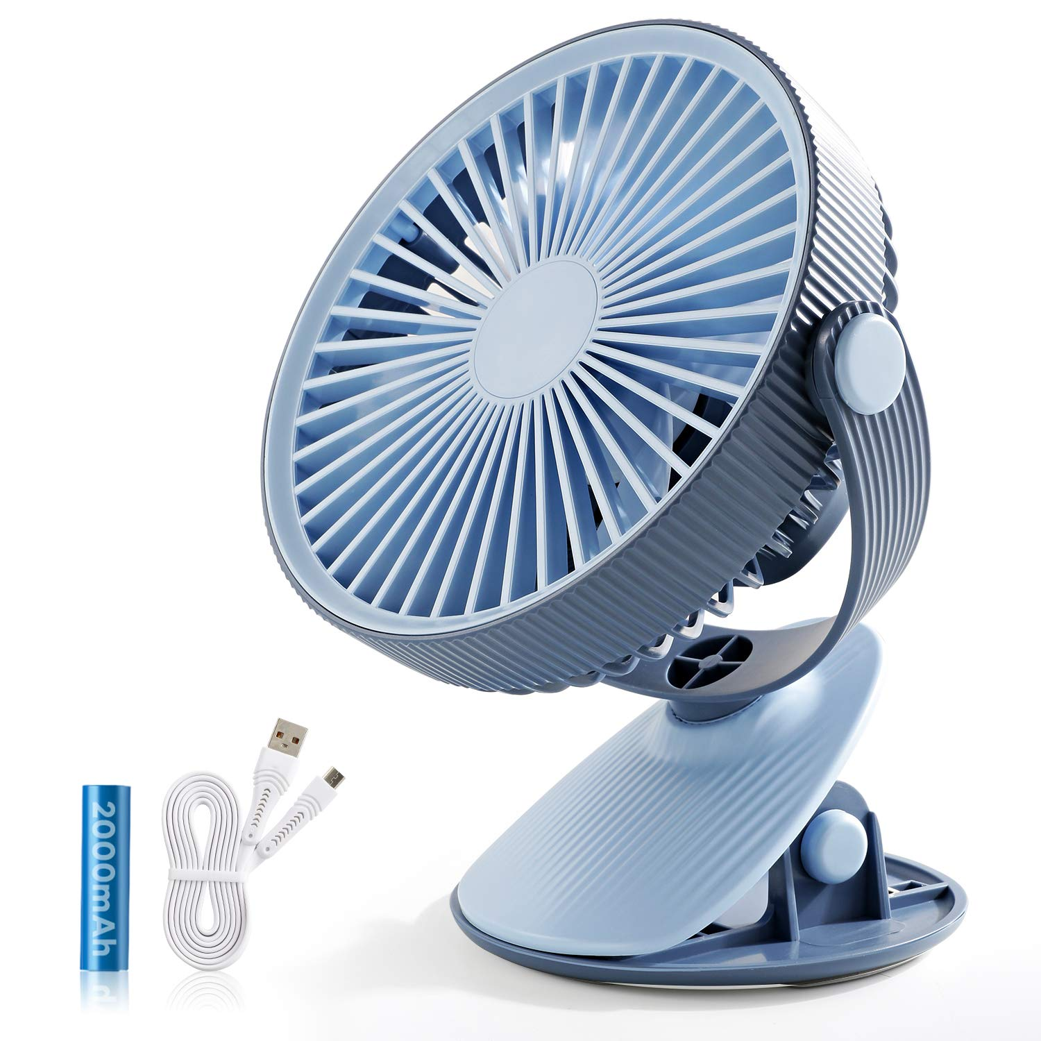 SmartDevil Battery Operated Clip on Fan for Stroller Home Office Camping Outdoors,Dual-use Portable 3-Speed Desktop Clip Fan, Rechargeable, Quiet Operation (Blue) by SmartDevil