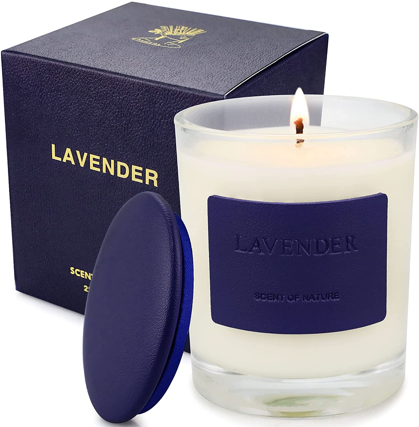 Lavender Candle, Scented Candles for Home 7.8oz 45 Hours Burn, Soy Wax Organic Candle Aromatherapy Candle Jar Candles for Birthday, Candles Gifts for Women, Relaxation & Stress Relief