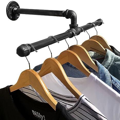 BABA - Perchero de pared con tubo industrial para ropa y ...