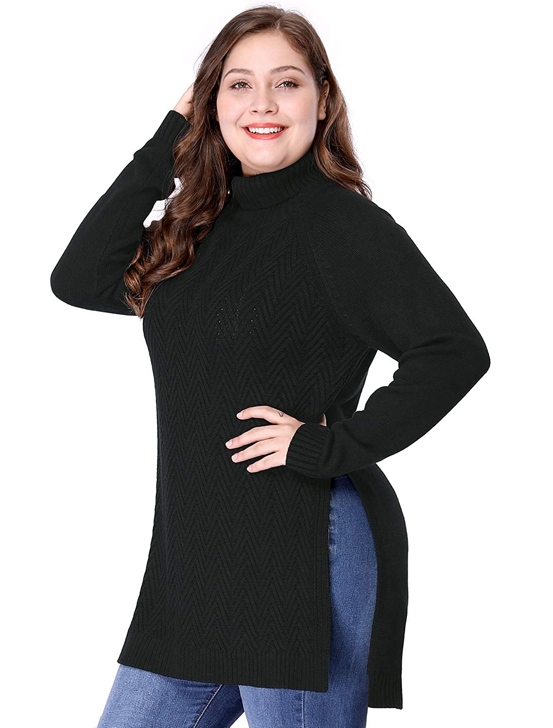5d90183fff7 Agnes Orinda Women s Plus Size Side Slit Long Sleeve Mock Turtleneck  Sweater Tunic at Amazon Women s Clothing store