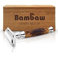 Rasierhobel | Nassrasierer Herren | Barthobel 2-seitigem Klingenkopf & Griff aus Bambus | Rasierhobel Geschlossen | Nassrasierer Holz | hochwertig & umweltfreundlich - für Damen und Herren | Bambaw