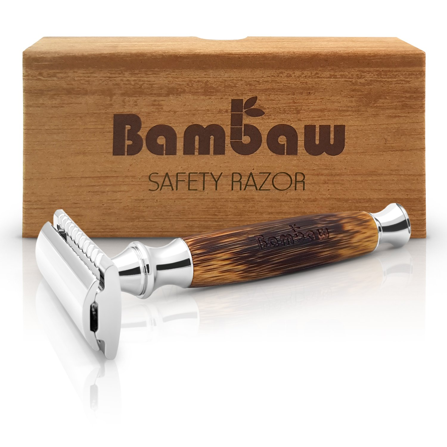 Double Edge Safety Razor with Long Natural Bamboo Handle | The Perfect Shave | High Quality | Sustainable and Durable | Environmentally Friendly |Fits All Double Edge Razor Blades | Bambaw product image